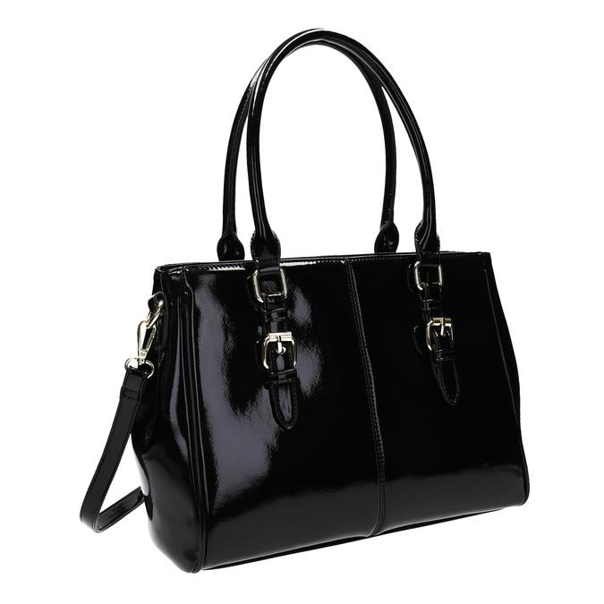 Čierna kabelka v lakovanej úprave bata, čierna, 961-6619 - 13
