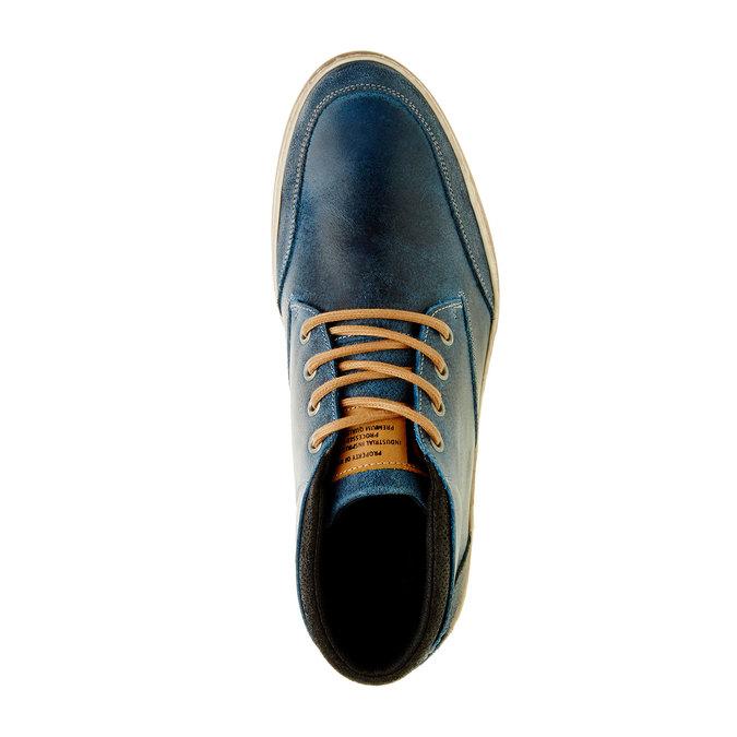 Modré kožené tenisky k členkom bata, modrá, 844-9620 - 19