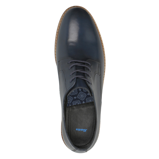 Ležérne kožené poltopánky bata, modrá, 826-9644 - 19