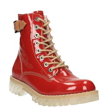 Kožená členková obuv na priehladnej podrážke weinbrenner, červená, 598-5602 - 13