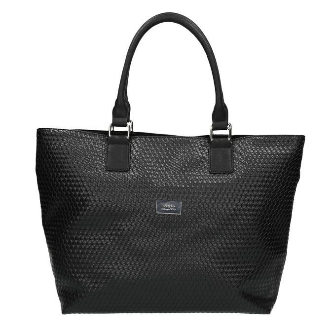 Dámska kabelka s prepleteným vzorom bata, čierna, 961-6651 - 19