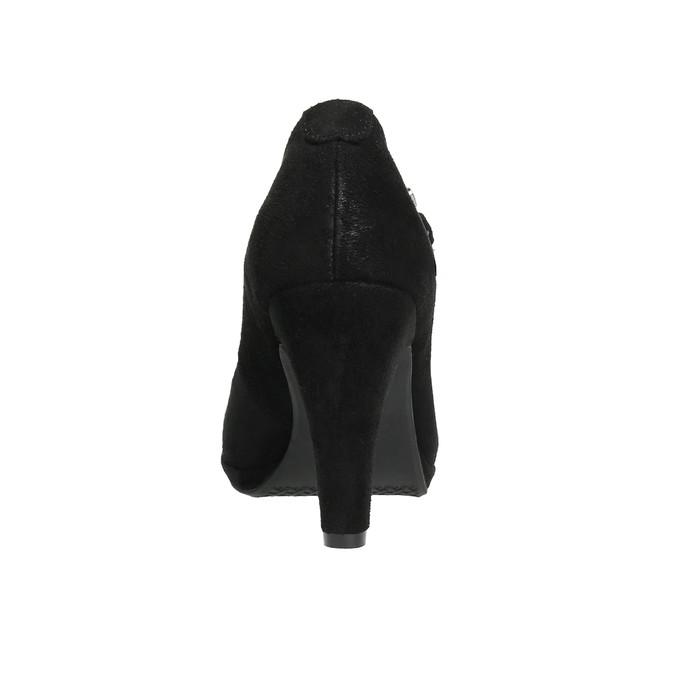 Čierne lodičky s remienkom cez priehlavok bata, čierna, 729-6601 - 17