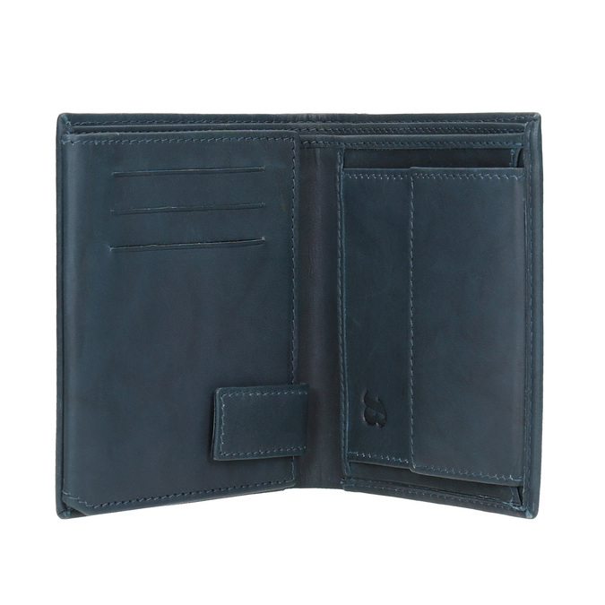 Kožená peňaženka s perforáciou bata, modrá, 944-9175 - 15