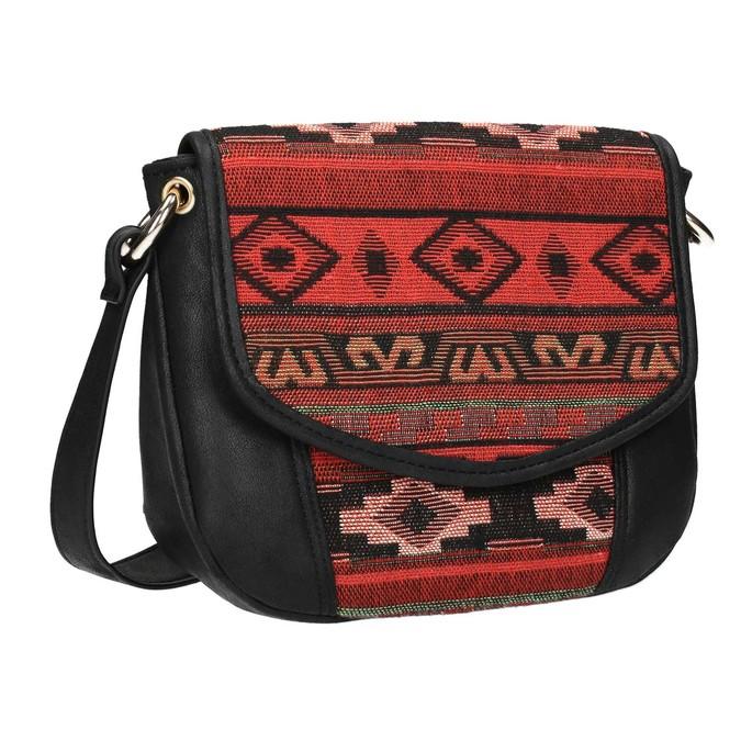 Crossbody kabelka s Etno vzorom bata, čierna, 969-6642 - 13