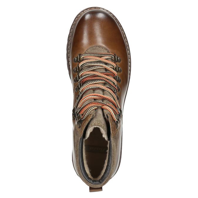 Kožená obuv s originálnym šnurovaním bata, hnedá, 894-4180 - 26