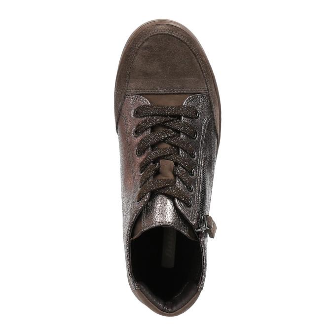Dámske kožené členkové tenisky bata, hnedá, 596-4613 - 19