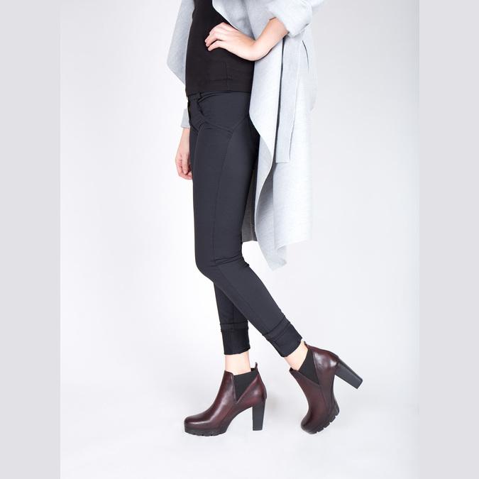 Kožená členková obuv na vysokom podpätku bata, 796-5605 - 18