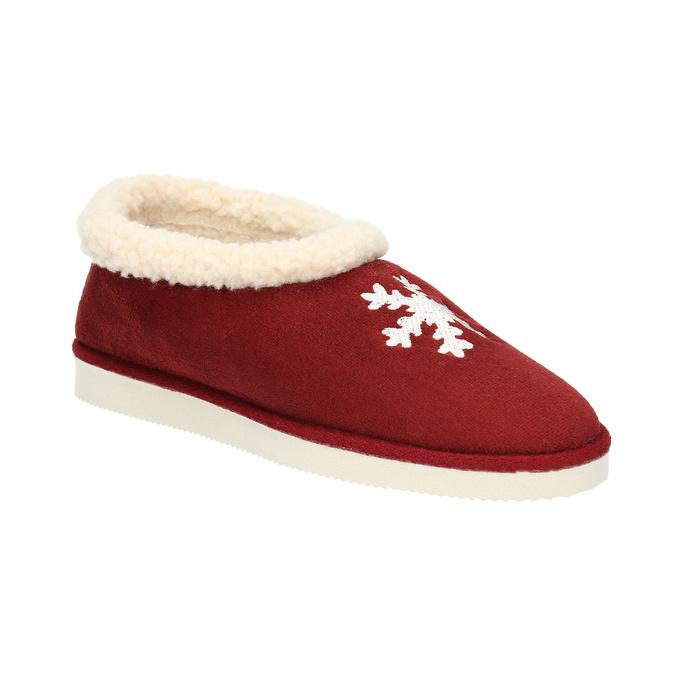 Domáce papuče s umelým kožúškom bata, červená, 579-5612 - 13
