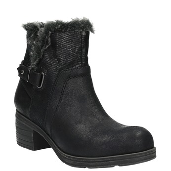 Členková obuv s kožúškom bata, čierna, 699-6632 - 13