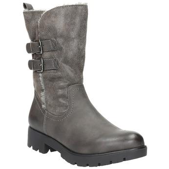 Dámske čižmy s kožúškom bata, šedá, 599-2610 - 13