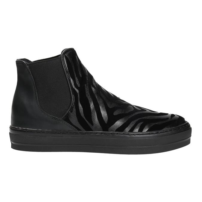 Kožená členková obuv so zvieracím vzorom bata, čierna, 546-6601 - 15
