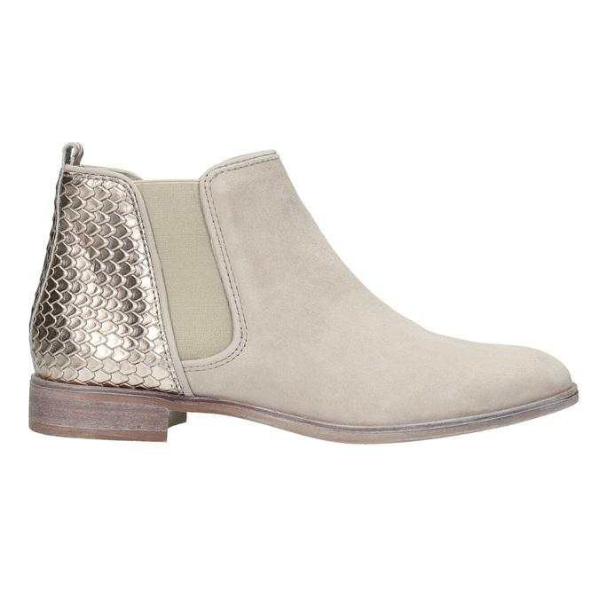 Kožené členkové čižmy s pružnými bokmi bata, šedá, 596-2652 - 15
