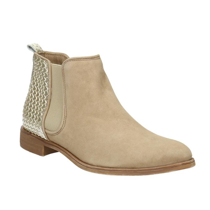 Kožené členkové čižmy s pružnými bokmi bata, béžová, 596-4652 - 13