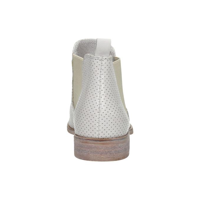 Kožené Chelsea topánky s perforáciou bata, biela, 596-1651 - 17