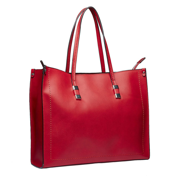 Hranatá kabelka v Shopper štýle bata, červená, 961-5736 - 13