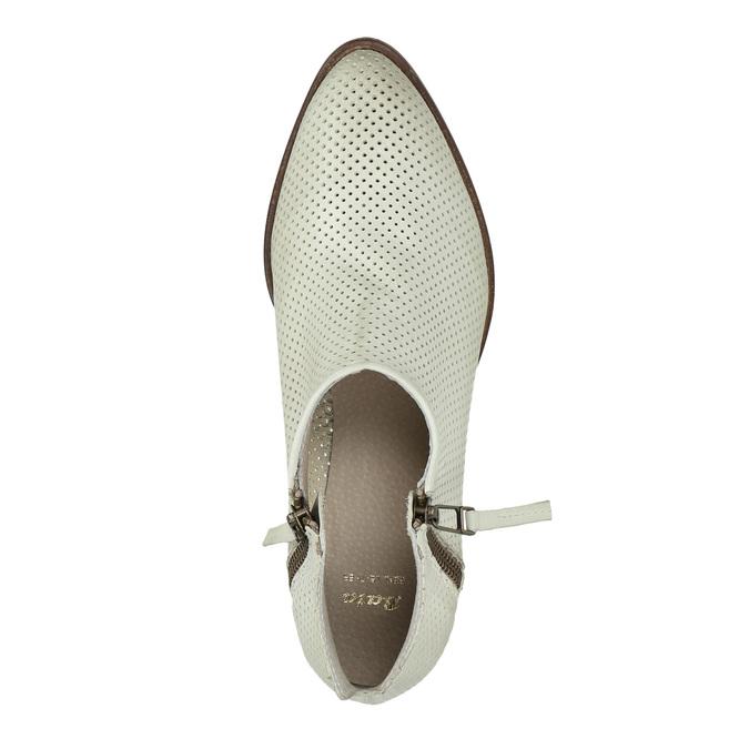 Kožené členkové čižmy s perforáciou bata, biela, 596-1647 - 19