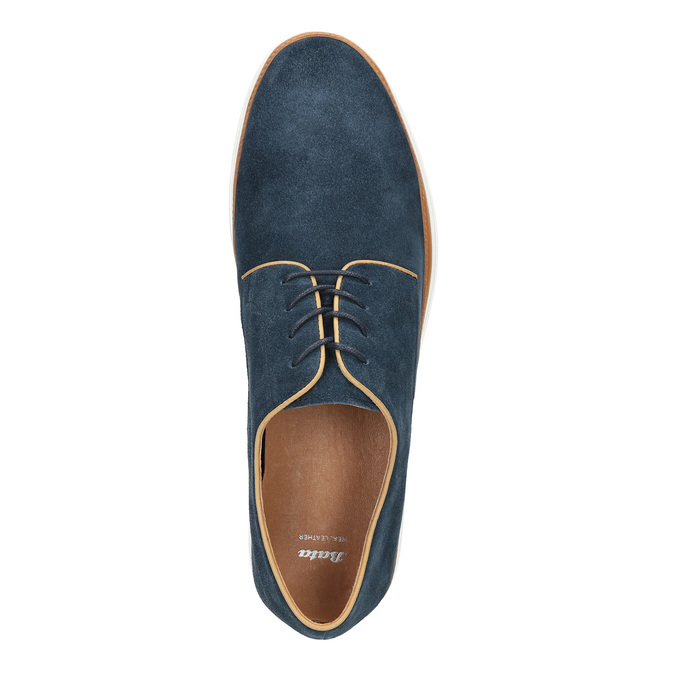 Ležérne kožené poltopánky bata, modrá, 843-9623 - 19