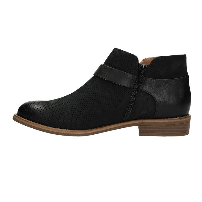 Kožená členková obuv so sponou bata, čierna, 596-6634 - 26