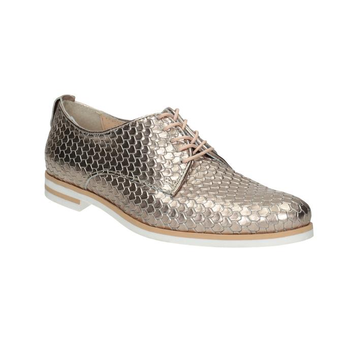 Kožené poltopánky s motívom šupín bata, zlatá, 526-8627 - 13