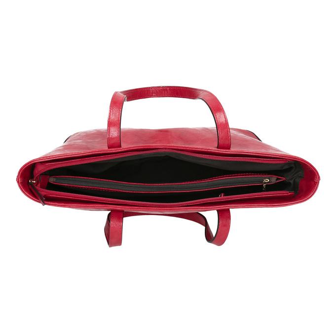 Červená kabelka v Shopper štýle bata, červená, 961-5699 - 15