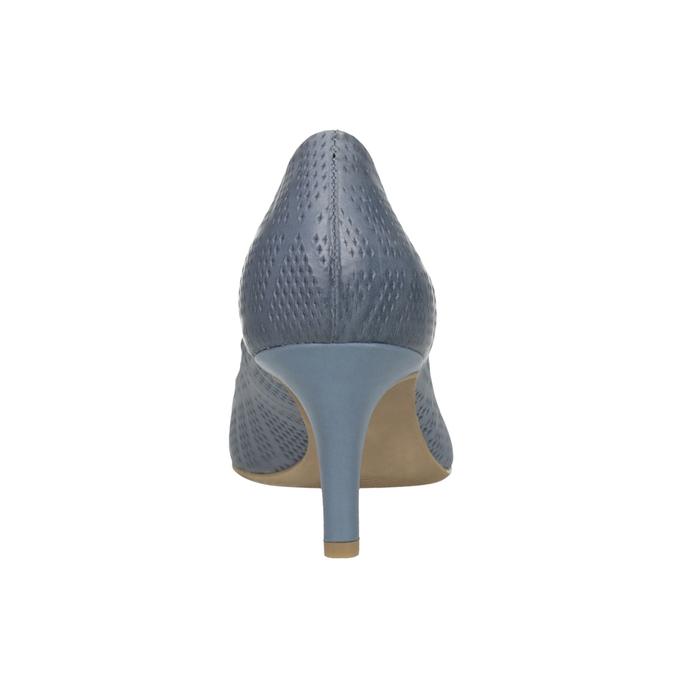 Kožené lodičky s perforáciou pillow-padding, modrá, 626-9636 - 17
