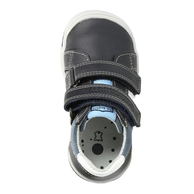 Detské kožené topánky na suchý zips bubblegummers, modrá, 116-9600 - 17