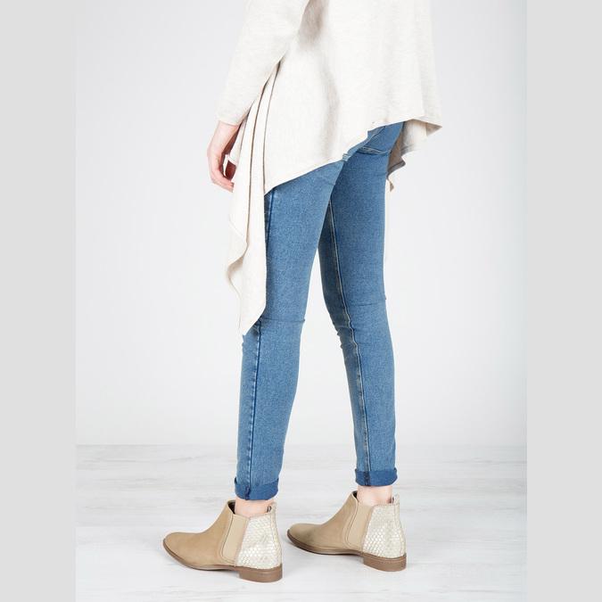Kožené členkové čižmy s pružnými bokmi bata, béžová, 596-4652 - 18