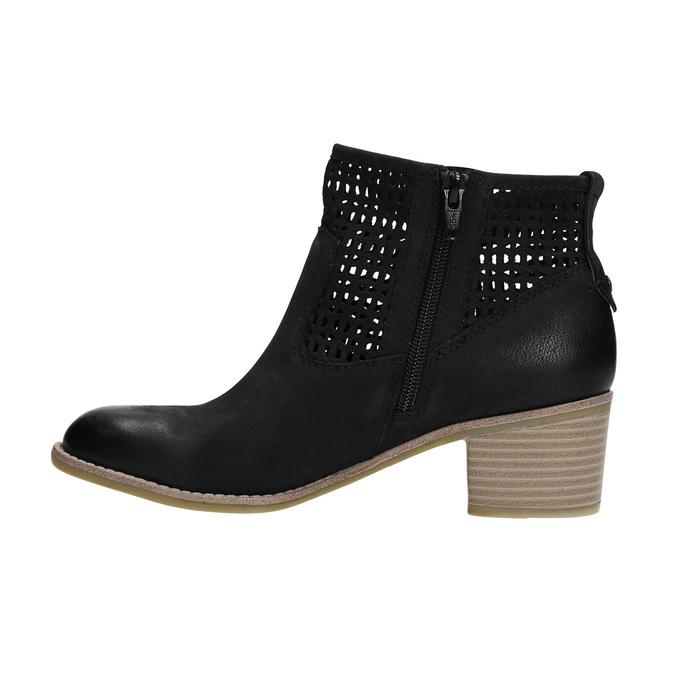 Kožené dámske jarné čižmy bata, čierna, 696-6643 - 26