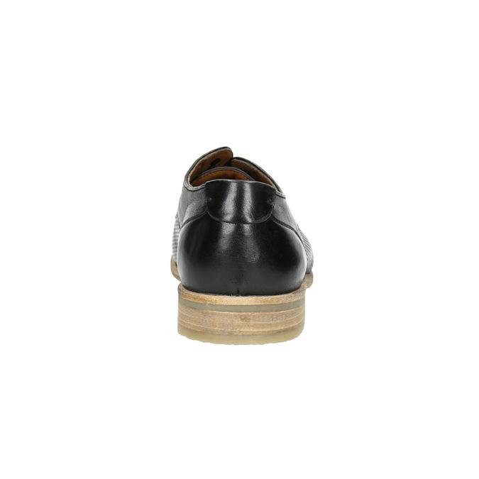 Čierne kožené poltopánky so svetlou podošvou bata, čierna, 824-6807 - 17