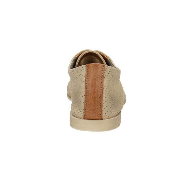 Kožené poltopánky s perforáciou bata, béžová, 526-8619 - 17