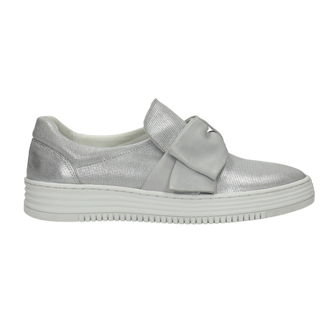 Kožená Slip-on obuv s mašľou bata, strieborná, 516-2605 - 15