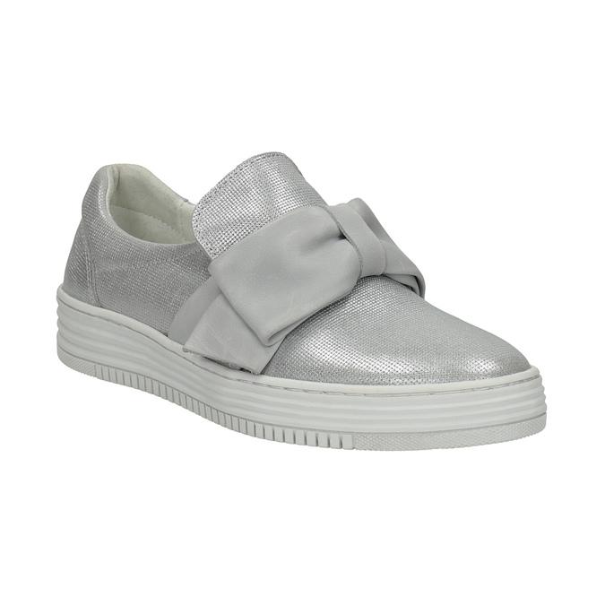 Kožená Slip-on obuv s mašľou bata, strieborná, 516-2605 - 13