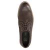 Hnedé kožené poltopánky s výrazným prešitím bata, hnedá, 826-4815 - 19
