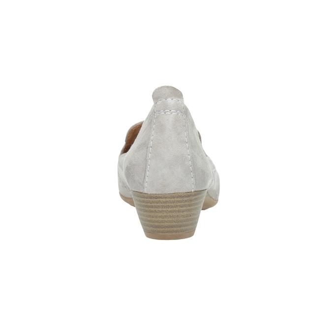 Dámske kožené mokasíny šírky H bata, šedá, 523-2603 - 17