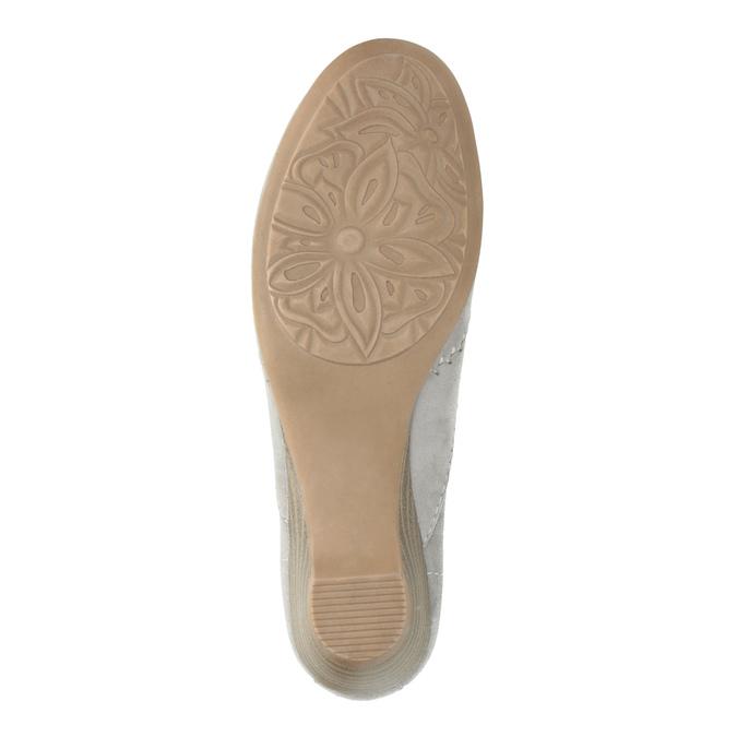 Dámske kožené mokasíny šírky H bata, šedá, 523-2603 - 26