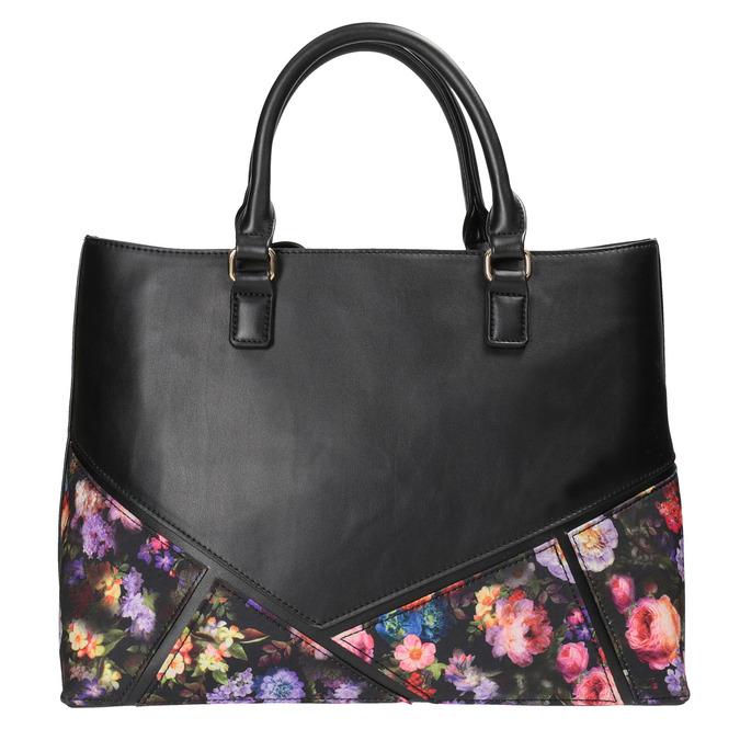 Kabelka s kvetinovým detailom bata, čierna, 961-6690 - 26