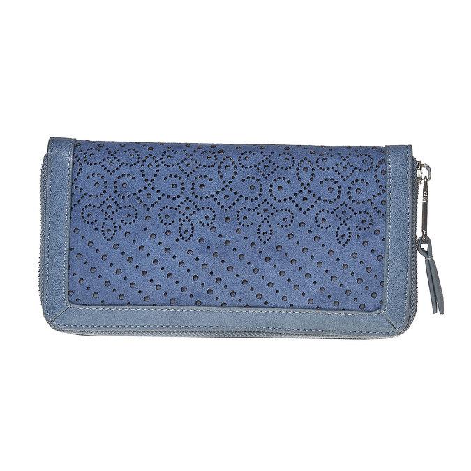 Modrá peňaženka s perforáciou bata, modrá, 941-9147 - 17