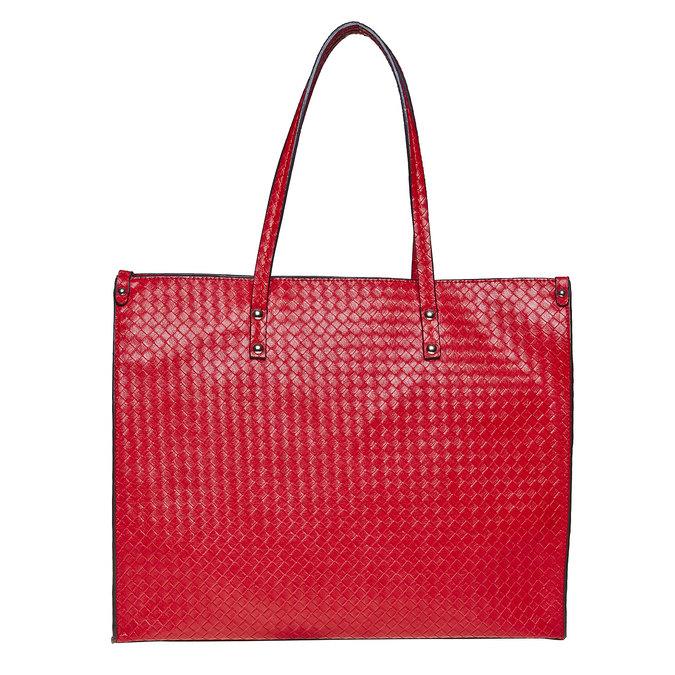 Červená kabelka s pleteným vzorom bata, červená, 961-5289 - 26