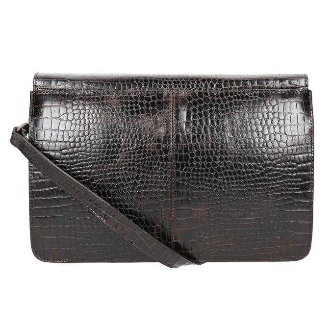 Kožená kabelka s krokodýlím vzorom vagabond, hnedá, 966-3030 - 26