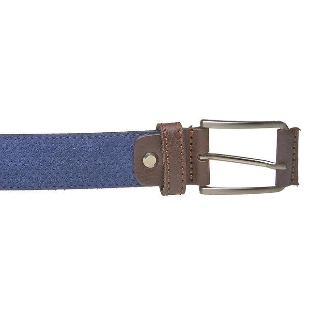 Kožený pánsky opasok s perforáciou bata, modrá, 953-9325 - 26