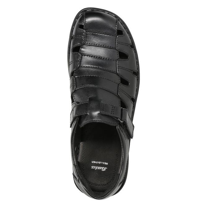 Pánske čierne kožené sandále bata, čierna, 864-6600 - 17