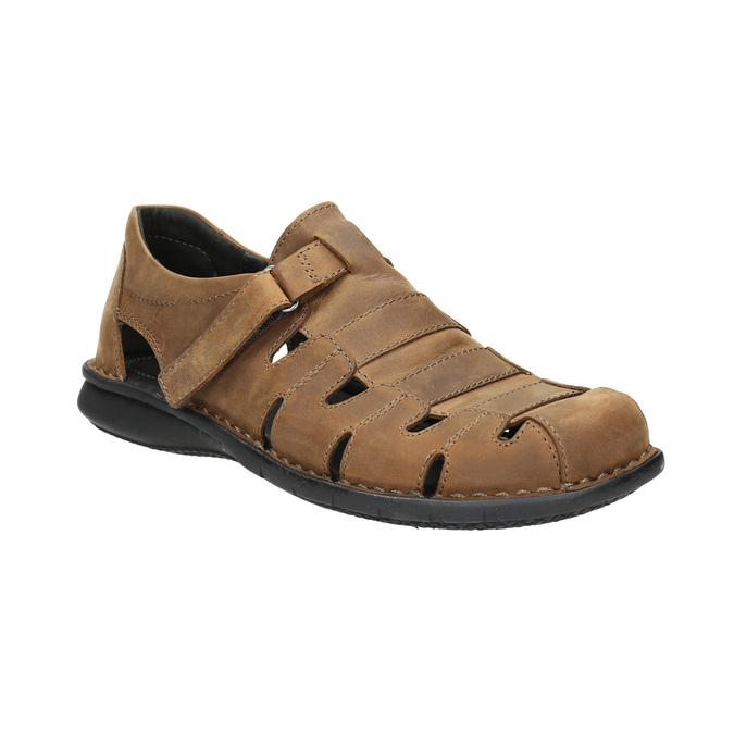Kožené hnedé pánske sandále bata, hnedá, 864-4600 - 13