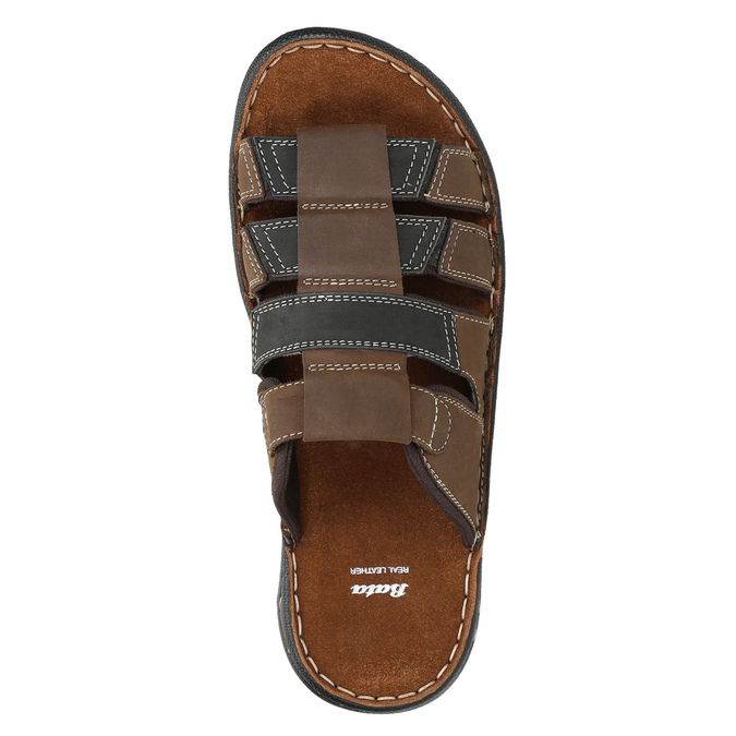 Pánske kožené nazuváky bata, hnedá, 866-4611 - 19
