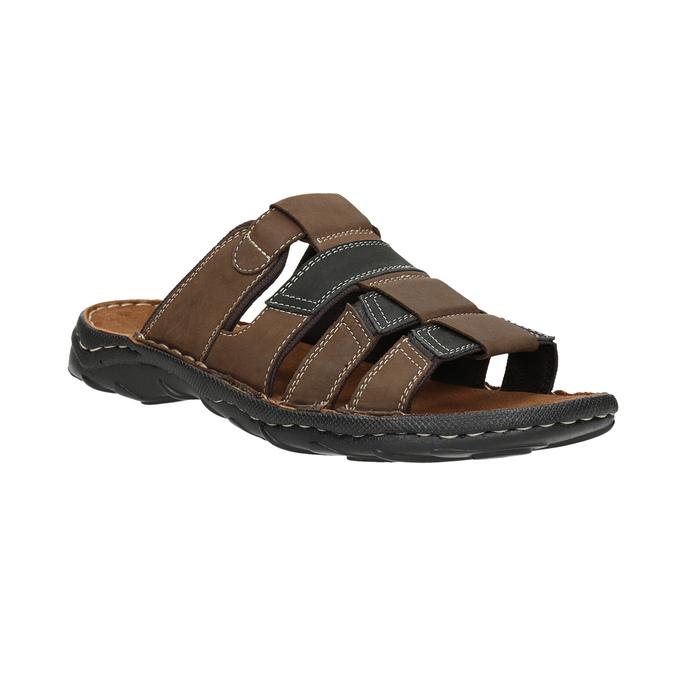 Pánske kožené nazuváky bata, hnedá, 866-4611 - 13