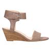 Kožené sandále na kline bata, hnedá, 666-4607 - 15