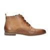 Kožená členková obuv s perforáciou bata, hnedá, 596-4645 - 15