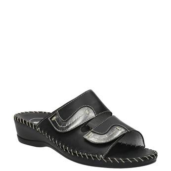 Kožená domáca obuv comfit, čierna, 674-6600 - 13