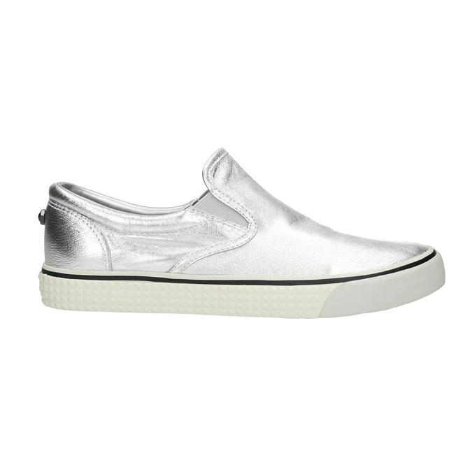 Kožená strieborná Slip-on obuv diesel, strieborná, 504-1437 - 15