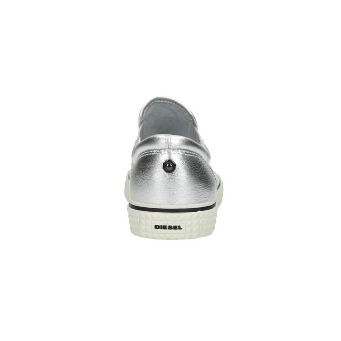 Kožená strieborná Slip-on obuv diesel, strieborná, 504-1437 - 17