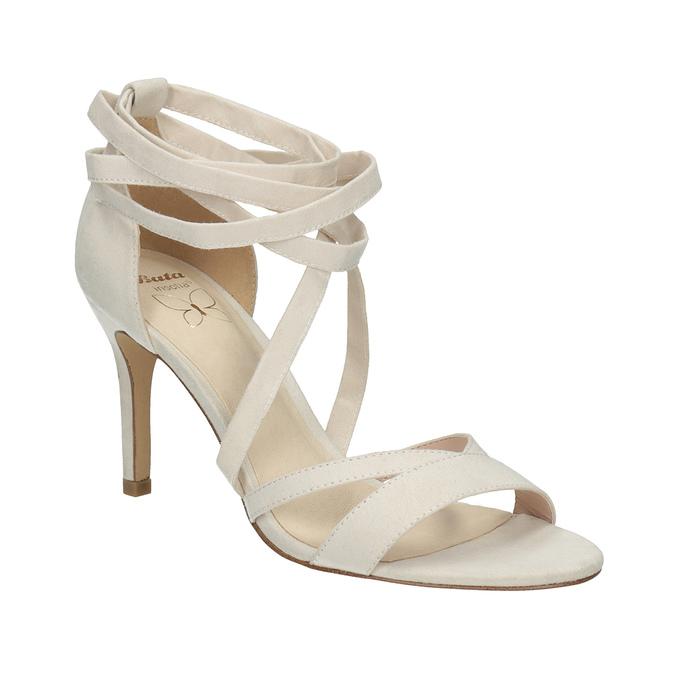 Šnurovacie sandále na podpätku insolia, béžová, 769-1613 - 13